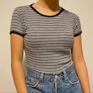 blue and gray striped tee
